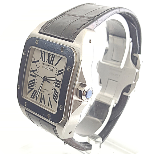 c360210a85109 Details about Mens Cartier Santos 100 XL Automatic Model 2656 Stainless  Steel Watch
