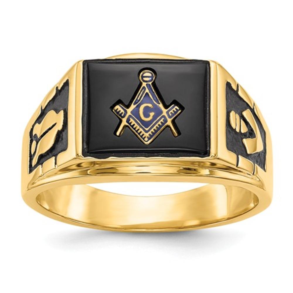 1fc3ae4f16342 Men's 14K Yellow Gold Black Enamel Letter