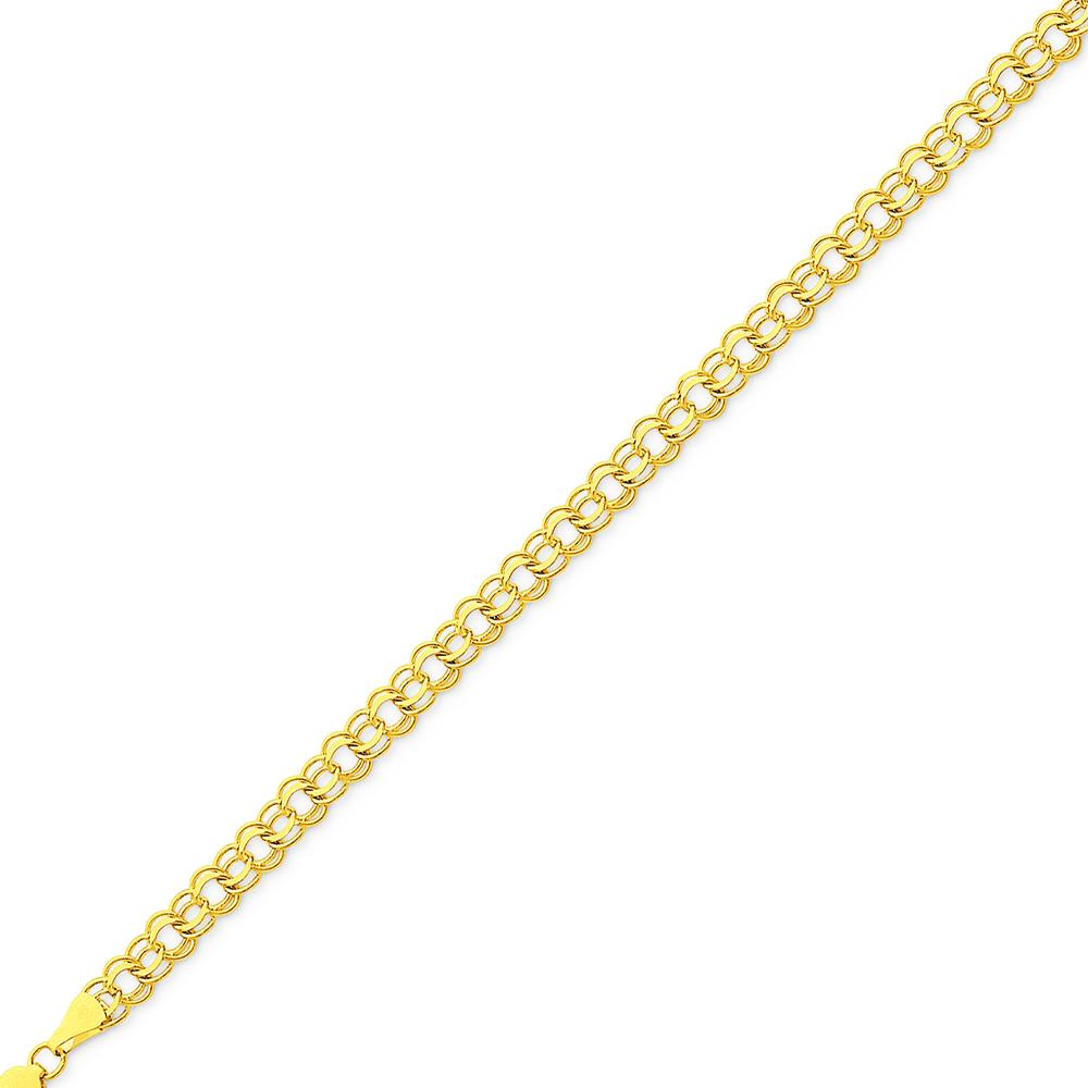 Ladies 14K Yellow Gold Triple Circle Link Chain Bracelet 7 inches 2.3 grams