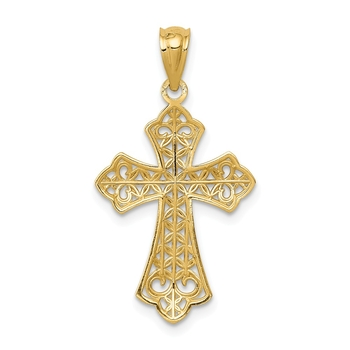 Filigree and Milgrain Cross Charm In Real 14k Yellow Two Tone Gold