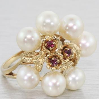 Vintage 14k Gold Pearl & Ruby Cocktail Cluster Ring