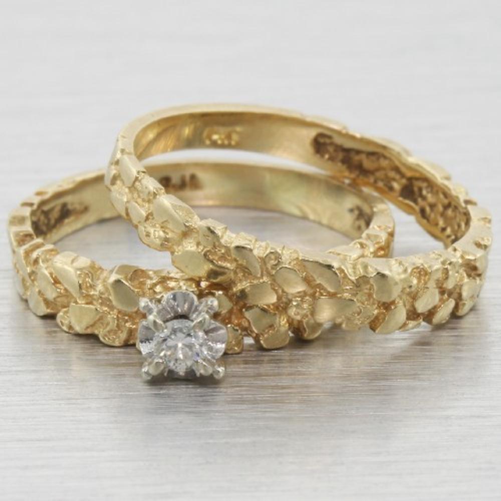 Custom 14k Gold Nugget Diamond Engagement Ring Set
