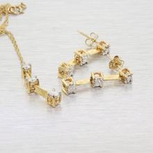 Vintage Estate 10K Yellow Gold Elegant Diamond Anniversary Earrings&Pendant Set