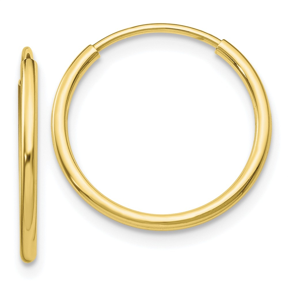 10K Yellow Gold Polished Round Hinged Hoop Earrings