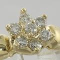 Sweet 14k Gold Floral Diamond Cocktail Vintage Ring