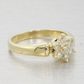 Sweet 14k Gold Floral Diamond Cocktail Vintage Ring