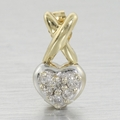 Edwardian 0.35ct Diamond Pave' Heart 14k Gold Earrings