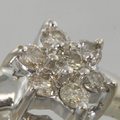 Sweet Floral Diamond 14k White Gold Edwardian Ring