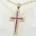 Incredible 1.25ct Vintage Ruby & Diamond Cross Pendant Chain