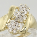 Vintage Floral Bypass 0.25ct Diamond Yellow Gold Ring