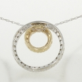 Two Tone Gold Diamond Duo Eternity Pendant & Chain