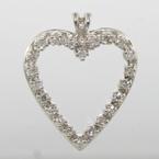 Lovely Ladies Vintage 14k White Gold Diamond 0.33CTW Heart Pendant Jewelry