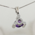 14k Gold 5mm Amethyst & Diamond Modern Pendant & Chain