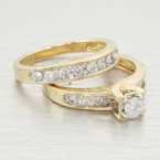 Vintage Ladies 14k Yellow Gold Diamond 0.60CTW Wedding Ring Set Jewelry