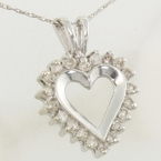 Lovely Ladies 10K White Gold 0.20CTW Diamond Heart Pendant&Chain Jewelry