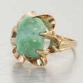 14k Gold Buttercup Ring Free Form Natural Turquoise