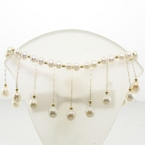 White Fresh Water Pearl & 14k Gold Bead Bib Necklac