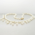 Ladies14k Yellow Gold White Fresh Water Pearl Bead Bib Necklace Jewelry
