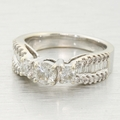 1.50ctw Diamond Three Stone 14k White Gold Wedding Ring