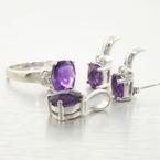 Edwardian Ladies 14K White Gold 8.15cts Amethyst Diamond Jewelry Set