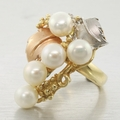Extravagant White Pearl 14k Tri-Color Gold Ring