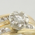 1930's 14k Gold Illusion Diamond Wedding Ring Set
