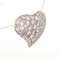 Dazzling Ladies Vintage 14K Yellow Gold Round Diamond Heart Pendant Jewelry