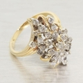 Vintage 1.00ct Diamond 14k Gold Waterfall Cluster Ring