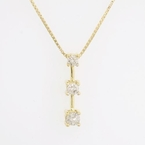 Estate 3-Stone Diamond 10k Gold Pendant w Chain Set