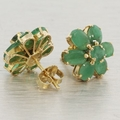 14K Yellow Gold Chrysoprase Earrings