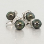 14K White Gold Black Tahitian Pearl Jewelry Set