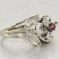14K White Gold Cocktail Ruby & Diamond Ring
