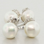 14K White Gold Tahitian Pearl & Diamond Jewelry Set