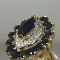 10K Yellow Gold Diamond & Sapphire Cocktail Ring