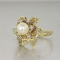 Estate 14K Yellow Gold Pearl & Diamond Ring