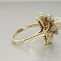 Estate 14K Yellow Gold Pearl & Diamond Ring