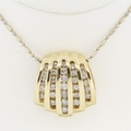 Fine Estate Shell .50ct Diamond 14k Gold Slide w Chain