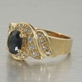 Elegant Vintage Blue Sapphire & Cubic Zirconia 14K Yellow Gold Ring