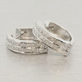 Estate 14K White Gold & Diamond Huggie Earrings