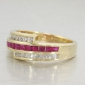 Estate 14K Yellow Gold Ruby and Diamond Band Ring