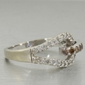 Modern Womens 14K White Gold Cognac Diamond 0.52CTW Fashion Ring