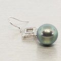 18K White Gold Tahitian Pearl & Diamond Earrings