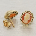 Breathtaking Ladies 14K Yellow Gold Estate Cameo Ring Earring Jewelry Set