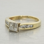 Estate Princess Diamond 14k Gold Engagement Ring