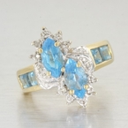 Womens Vintage 14K Yellow Gold Blue Topaz Cocktail Statement Ring