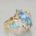 Womens Vintage Estate 14K Yellow Gold Blue Topaz Cocktail Statement Ring