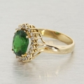 Womens Vintage 14K Yellow Gold Diamond Green Cubic Zirconia Halo Ring Jewelry