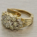 Estate 14K Yellow Gold & Diamond Ring & Earrings Jewelry Set