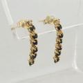 Estate Sapphire Diamond 14k Yellow Gold Dangles
