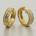 14K Yellow Gold 0.36 ctw Diamond Hoop Earrings